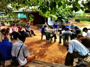 Morning devotions with the Seed Effect staff in Kajo Keji, South Sudan